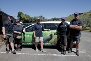 L/r; Cameraman Ted O'Brien and Pukaha Mt Bruce staff and volunteers Claire Mills, Helen Tickner (general manager), Laura Saba and Gary Anderson show off their ColorCote ZM8 gear